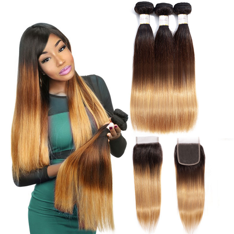 Image 2 - Brazilian Straight human hair weave bundles with closure blonde bundles with closure 1b/4/27 3 tone ombre bundles with closure-in 3/4 Bundles with Closure from Hair Extensions & Wigs