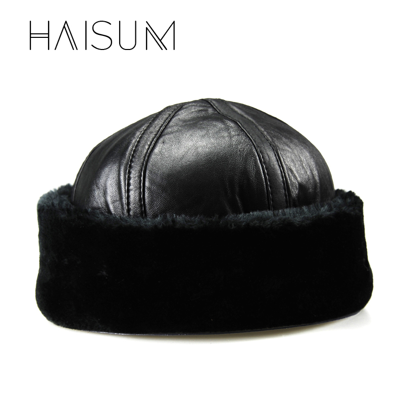 2018 Zeitlich begrenzte Erwachsene Haisum Neue Ankunft Echtes Leder männer Armee Kappe Hut Mann Militär Hüte/kappen winter Warme Bomber Cs28