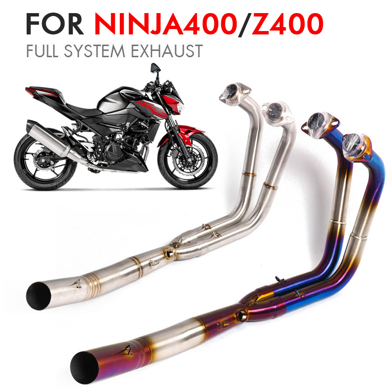 Ninja 400 Z400 Full System Motorcycle Exhaust Pipe Muffler Middle Link Pipe Moto Escape Exhaust For Kawasaki Ninja400 z400 image