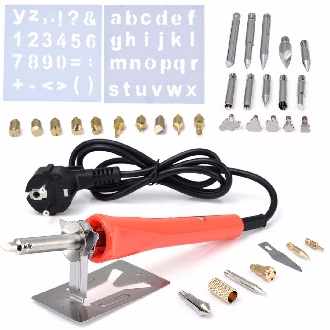 37pcs Wood Burning Pen Set Woodworking Welding Tips with Letter Stencil Set For Soldering Iron Carving Pyrography Tools