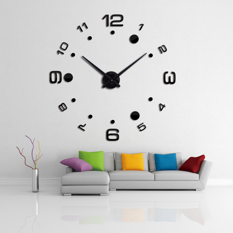 New Fashion  Diy Home Decoration Wall Stickers Mirror Effect Europe Style Still Life Quartz Living Room Affordable  Wall Clock