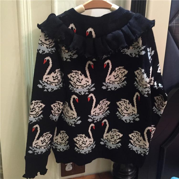Nero Miscele Design Caldo Le Spessore Luxury Cachemire Pullover Increspato Inverno Maglione Per Moda Runway Donne Lana Brand Swan 2018 Di Il wCCHAqcF