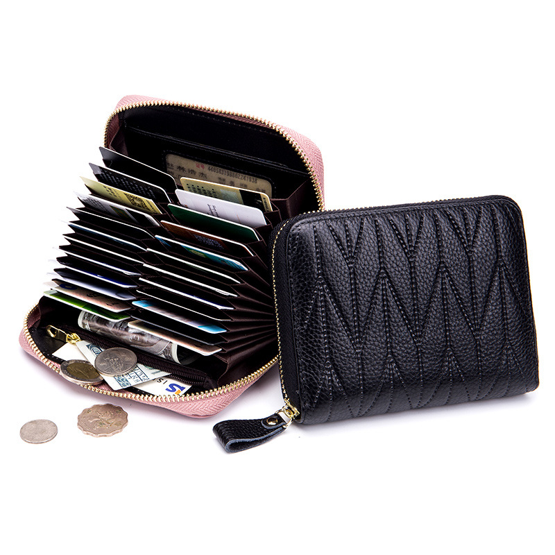 New Arrival Women Genuine Leather RFID Zipper Credit Card Holder ...