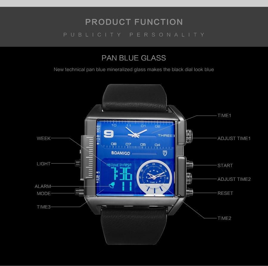 BOAMIGO 3 Time Zone Leather Rectangle Men's Fashion Quartz Watch