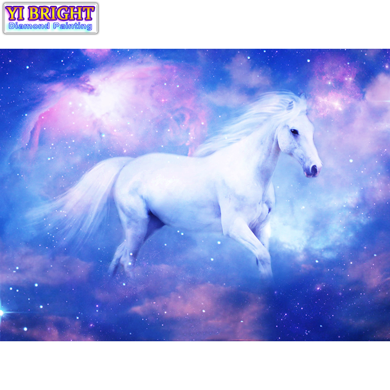 5D Diy diamond painting cross stitch White Horse Full Round Diamond embroidery Needlework Rhinestone Mosaic Crafts 1128