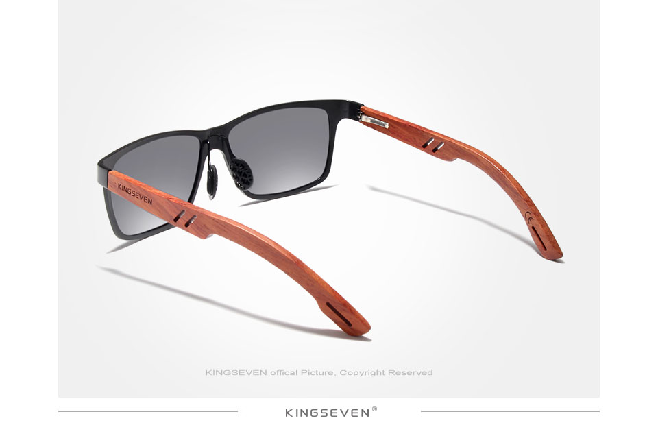 KINGSEVEN Handmade Bubinga Wooden Men's glasses Polarized sunglasses Women Mirror Lens Sun Glasses Driving Eyewear
