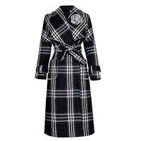 HIGH QUALITY New Stylish Runway 2018 Designer Wool Coat Women's Plaid Tweed Long Coat Overcoat
