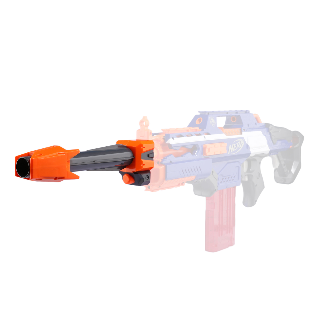 Modified Part Front Tube Decoration For Nerf Elite Series - Orange + Grey