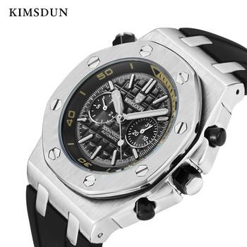 AAA KIMSDUN zegarki męskie zegarki Top marka luksusowe prawdziwy gumowe automatyczne mężczyźni mechaniczne oglądać klasyczne męskie zegary zegarki wysokiej jakości tanie i dobre opinie Mechaniczne Zegarki Na Rękę 22mm Odporny na wstrząsy Odporne na wodę Gumy Okrągły 3Bar Hardlex 42mm k-1223A Automatyczne self-wiatr