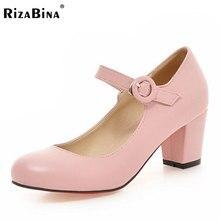 Rizabina женские туфли на высоком каблуке Женские однотонные Цвет Пряжка туфли-лодочки на толстом высоком каблуке Дамы Ежедневный отдых офисная обувь Размеры 33-43