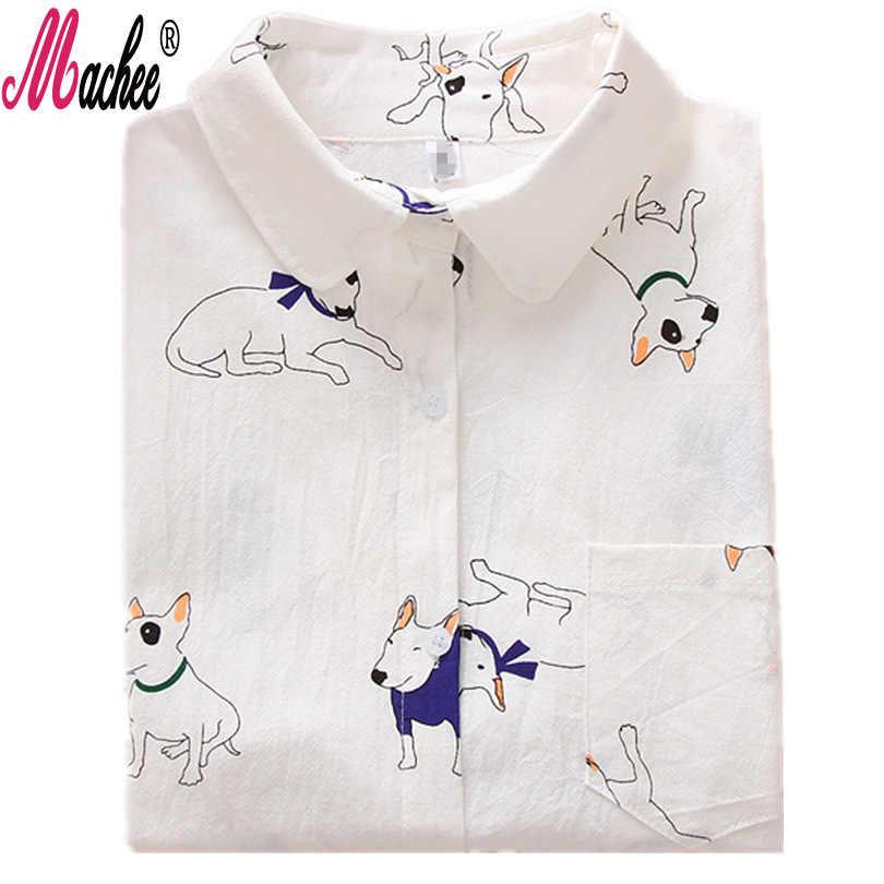 2018 Senhoras Camisa Branca Moda Outono blusas para Menina Da Escola Mulheres Manga Comprida Blusas Animal Print Encabeça Blusas Feminina Bluse