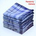 10 unids/lote partido de Rayas de la tela escocesa del Hombre pañuelos 38*38 cm Tela de algodón Pañuelo Masculino Bolsillo Cuadrado