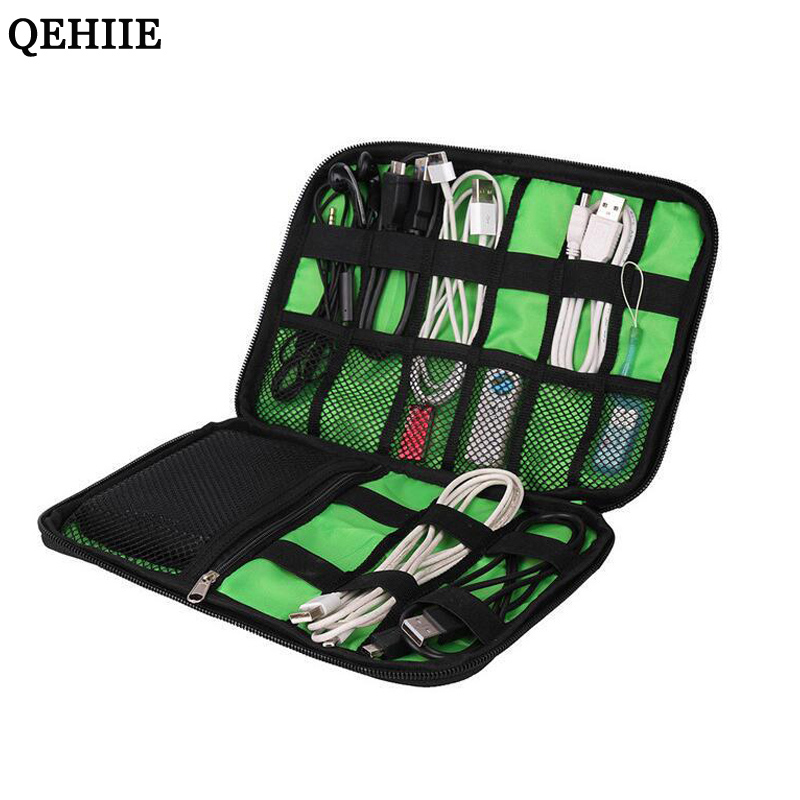 QEHIIE Waterproof Ipad Organizer USB Data Cable Earphone Wire Pen Power Bank Travel Accessories Case Digital Gadget Devices Bag