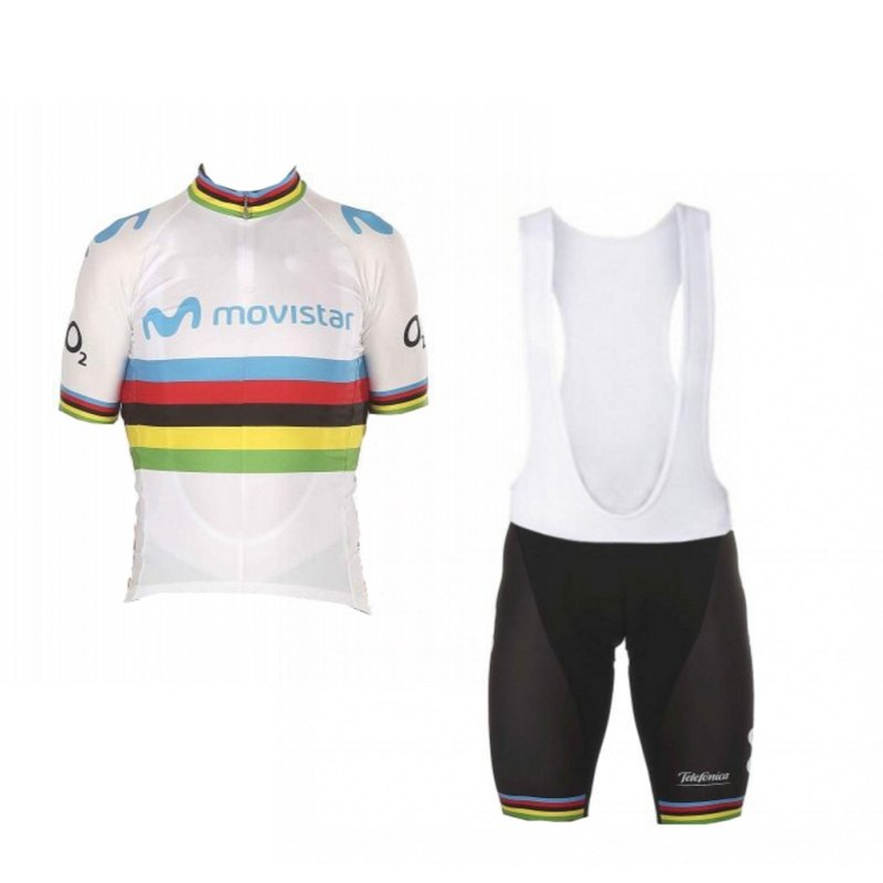 2019 World Champion Alejandro Valverde Rainbow Cycling Jersey Kits Breathable Racing Bike Cloth Ropa Ciclismo Maillot GEL PAD