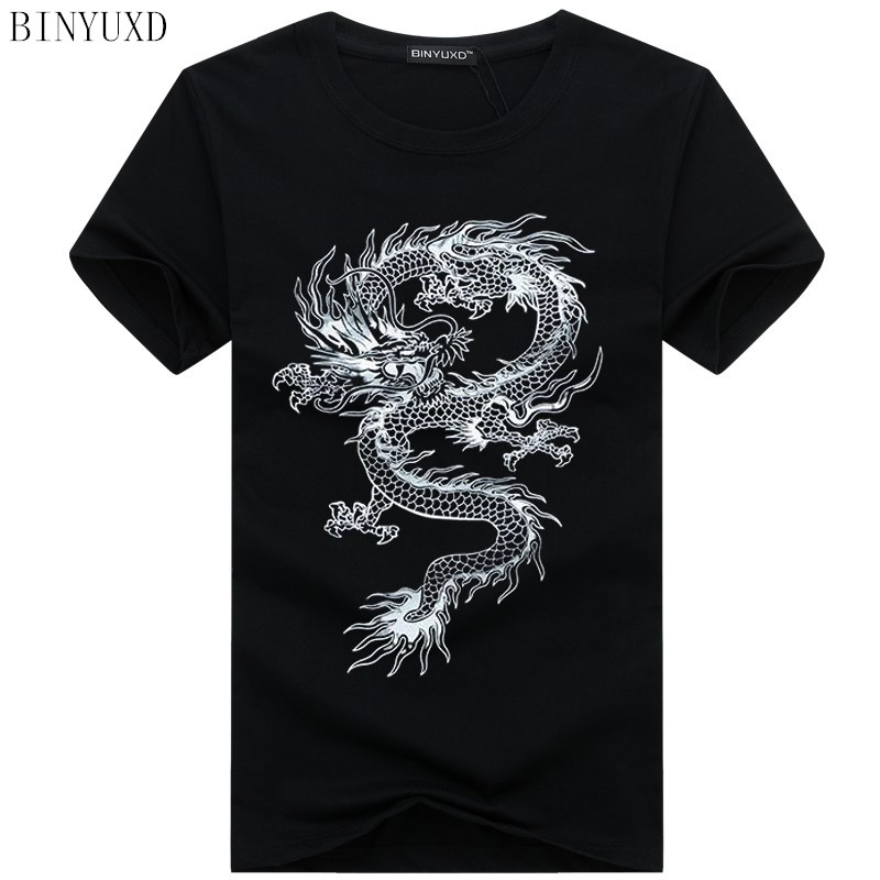 Binyuxd New Dragon Pure Cotton Short Sleeves Hip Hop Fashion Mens T-Shirt O-Neck Summer Personality Fashion Men T-shirts Dragon