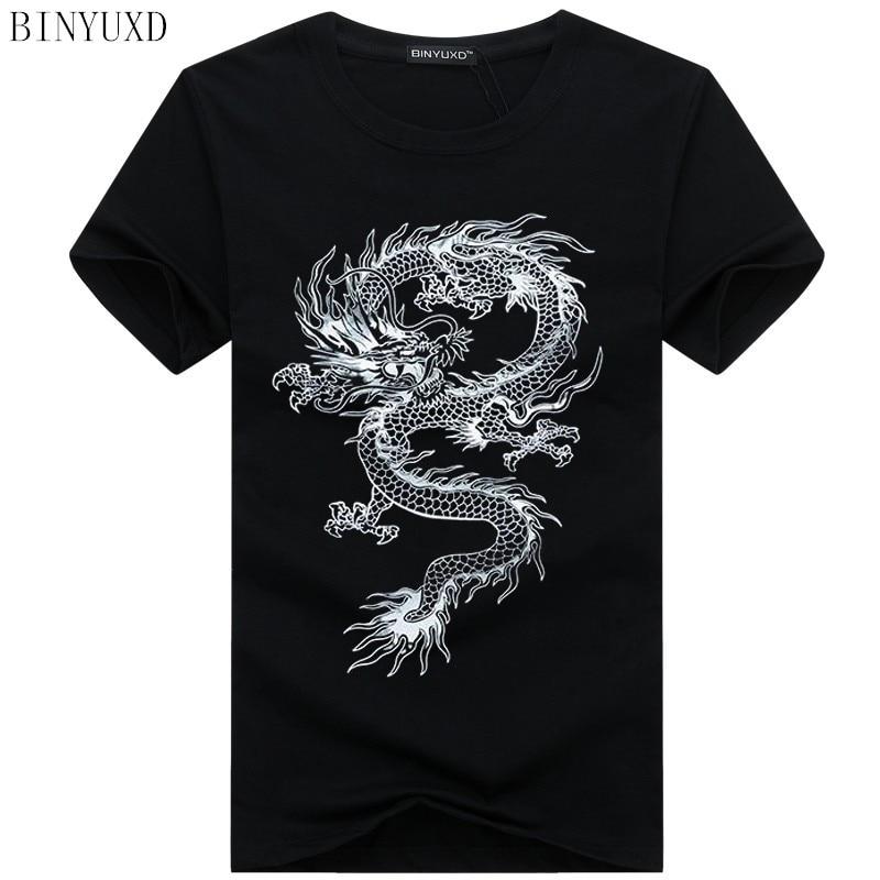 Binyuxd New Dragon Pure Cotton Short Sleeves Hip Hop Fashion Mens T-Shirt O-Neck Summer Personality Fashion Men T-shirts Dragon