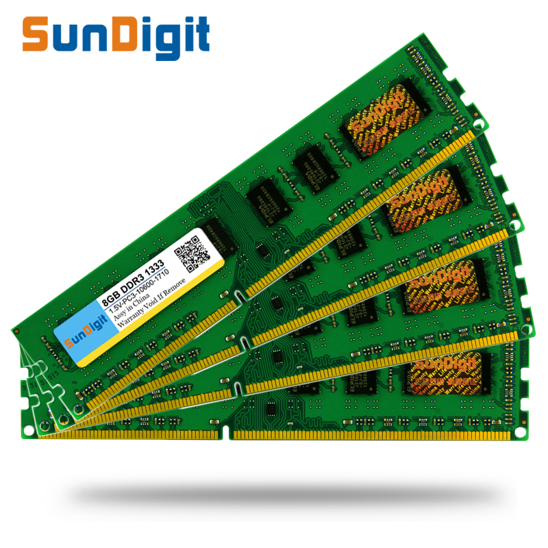High Quality SunDigit Memory Ram DDR3 1333Mhz 8GB 4GB 2GB for Desktop Memoria 1.5v PC3-10600 4GB Compatible with DDR 3 1066Mhz