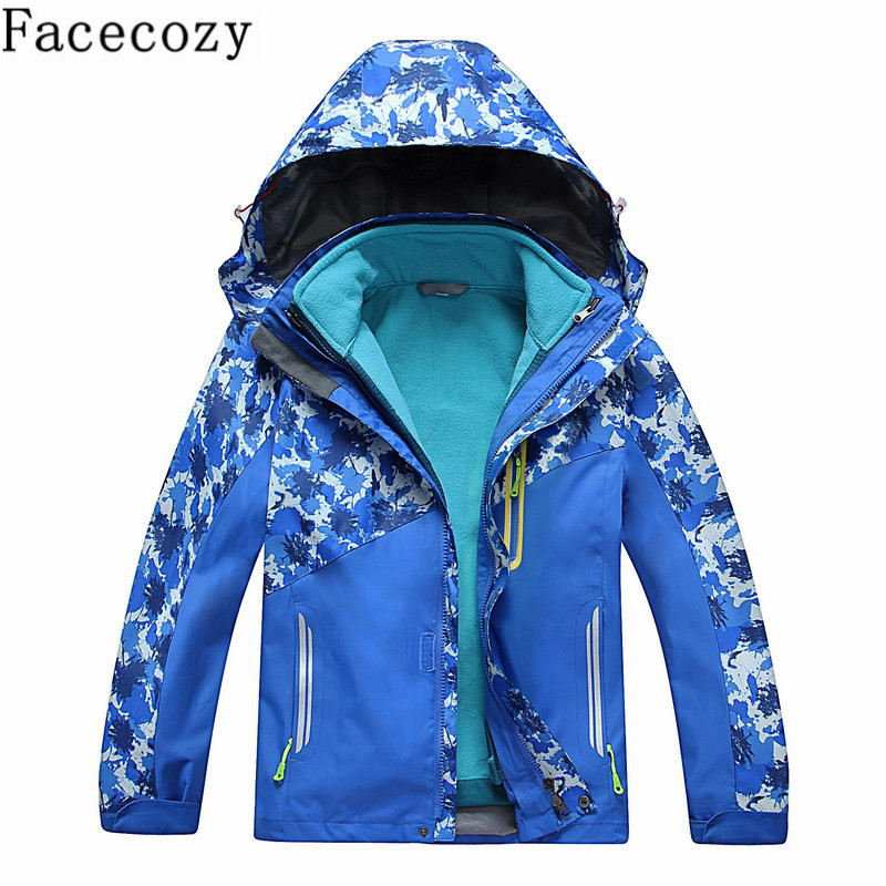 Facecozy Children Winter Outdoor Hiking Hooded 2 in 1 Camouflage Softshell Jacket Boy&Girl Autumn Removable Inner Fleeces Coat facecozy men autumn outdoor sports softshell pant male winter windproof inner fleeces thick trouser plus size