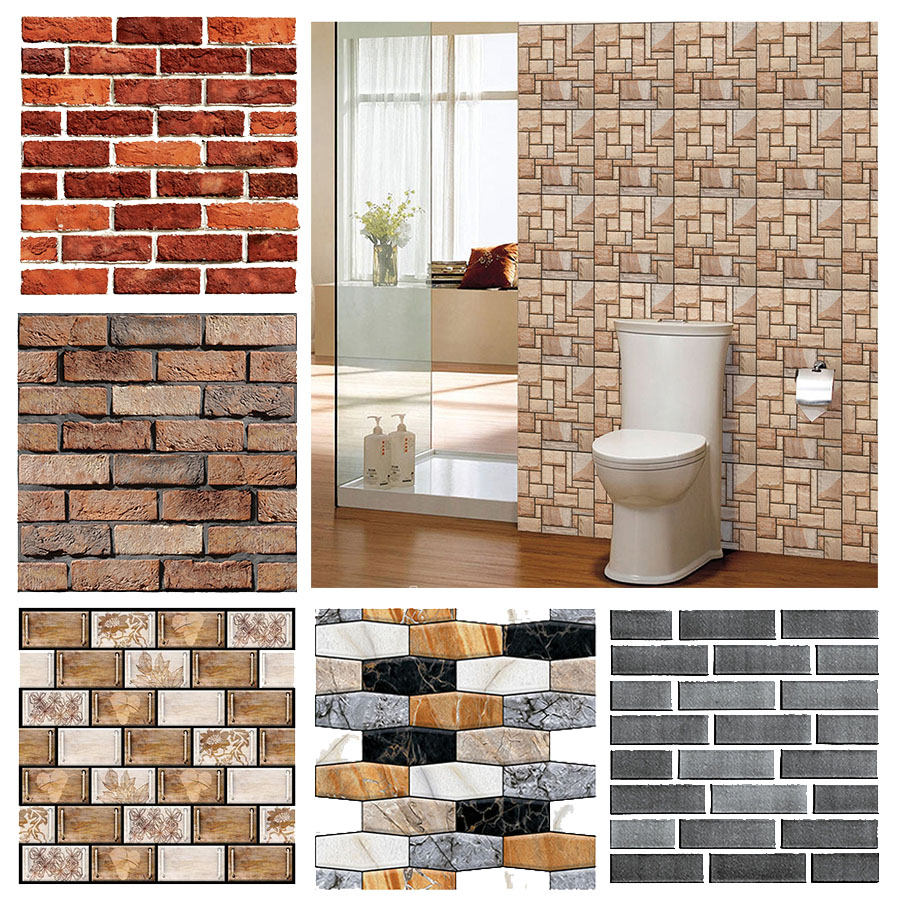 Wall-Stickers Backdrop-Decor Floor-Tile Imitation-Brick Self-Adhesive Living-Room Kitchen title=