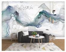 beibehang New Chinese classic silky papel de parede 3d wallpaper artistic conception abstract ink landscape deer TV background