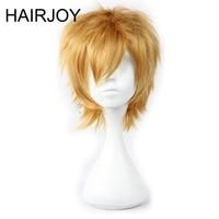 HAIRJOY 35 cm Court Blonde Partie Cosplay Perruque Homme Couches Bouclés Synthétique Cheveux Perruques Livraison Gratuite