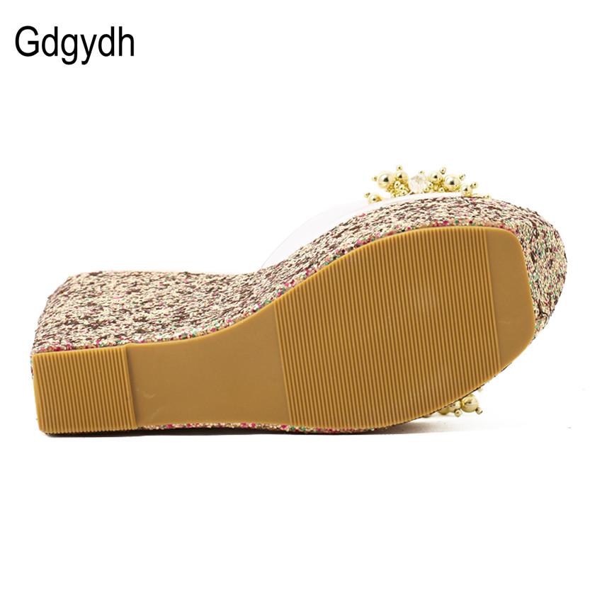 Image 4 - Gdgydh Rhinestone Wedges Sandals Women 2019 Summer Sexy Trifle Slides Casual Beading Open Toe Female Sandals Platform Shoes-in High Heels from Shoes