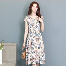 2019 Summer Middle-aged Mother Loose Comfortable Ccotton Print Round Neck Short Sleeve Plus Size 5XL Beach long Dress CM067(China)