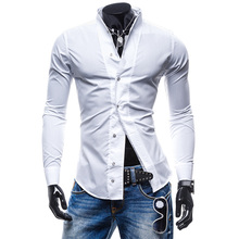 Zogaa 2019 Fashion Spring Slim Fit Mens Shirts Casual Male Social Business Dress Shirt Modern Men Long Sleeve