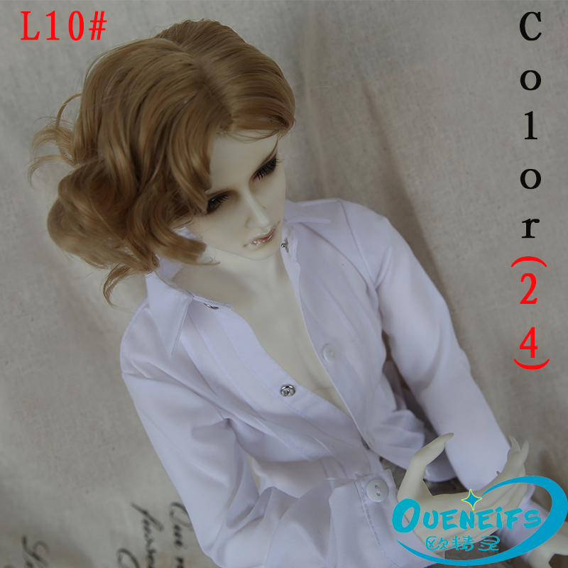 Oueneifs size 9-10 inch 1/3 high-temperature wig boy short hair bjd sd doll Wigs fashion type stylish curly hair oueneifs bjd wig 1 3 high temperature wig boy man short hair with bangs fashion type stylish hair have not doll size 9 10 inch