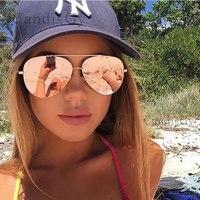New Fashion Flat Lens Mirror Aviation Sunglasses Women Stylish Sun Glasses Lady Men Metal Frame Eyewear