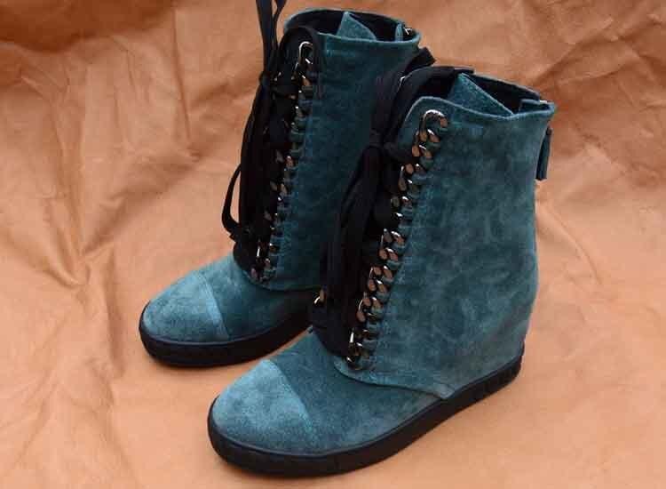Negro Moto Cm Tobillo Para Zapatos Decoración Mujeres Botas Invierno azul Mujer La Cadena Las Altura Hasta 8 De Cuña qaHT4Bqw