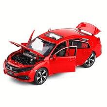 Автомобиль Honda Civic 1:32, игрушечный автомобиль из цинкового сплава, металлический Литая машина, Коллекционная модель автомобиля со звуком светильник, детские подарки, игрушки для мальчиков