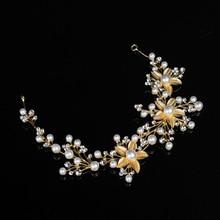 Wedding Bridal Crystal Imitation Pearl Tiara Headbands Head Jewelry Hair Accessories For Women Gift CX17