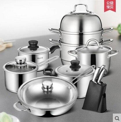 Ustensiles de cuisine poêle antiadhésive en acier inoxydable maison poêle soupe pot ensemble cuisinière outils de cuisine vapeur frypan couvercle en verre ustensiles de cuisine