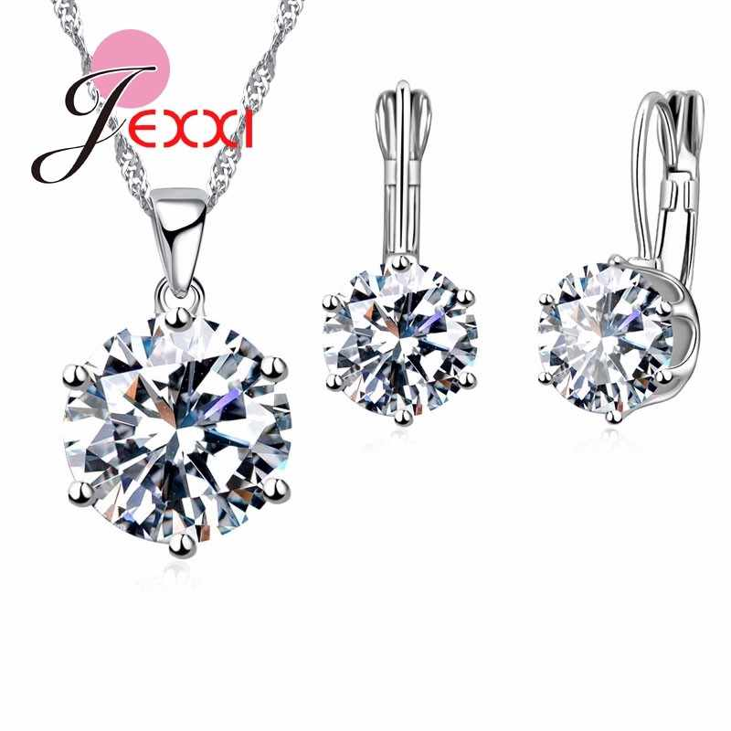 925 Sterling Silver Bridal Jewelry Set For Women Wedding Engagement Pendant Necklace Hoop Earrings Set Austrian Crystal