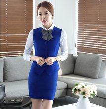 d41ffe81f Verano mujeres formal negocios Trajes con falda y Top Sets azul chaleco y  chaleco Oficina damas