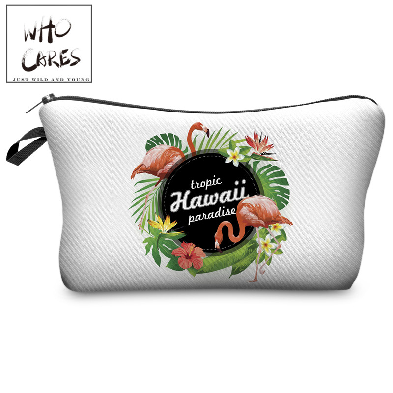 Who Cares Tropic Hawaii with Flamingo 3D Printing Cosmetic Bag Women Fashion Brand Organizer Neceser Maquillaje Girls Makeup Bag weed flower rose 3d printing makeup bag maleta de maquiagem cosmetic bag necessaire bags organizer party neceser maquillaje