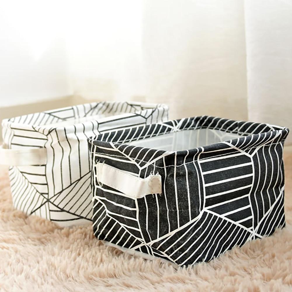 Foldable Storage Basket Bin Closet Toy Box Container Fabric DIY Desktop Folding Linen pu waterproof Jewelry Makeup Organizer