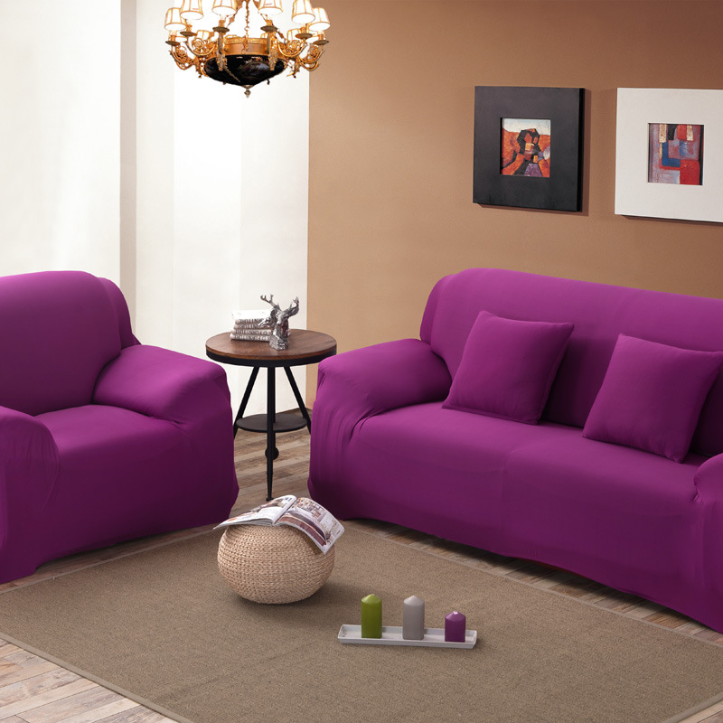 Sofa Cover Slipcover 1/2/3/4 Seat Single/Two/Three/Four Seater Purple Solid  Stretch Scenic Funda Sofa Couch Cover Capa De Sofa In Sofa Cover From Home  ...
