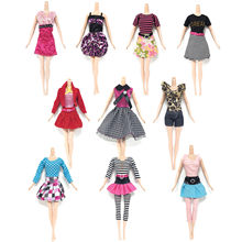 1de072adeb 10 PCS Mini Girl Doll Princess Dresses Party Evening Skirts Gown Tops Pants  Suits Outfits Clothes Accessories for Barbie Toys
