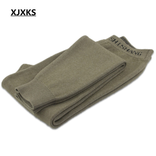 XJXKS Casual 100% Wool Knitted Men's Leggings Elasticity Autumn And Winter Warm M-XXL Comfortable Men Pants 3 Colors 4