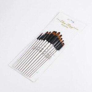 Image 4 - 12 adet/takım naylon saç ahşap saplı suluboya boya fırçası kalem seti öğrenme DIY yağlı boya akrilik sanat boya fırçaları malzemeleri