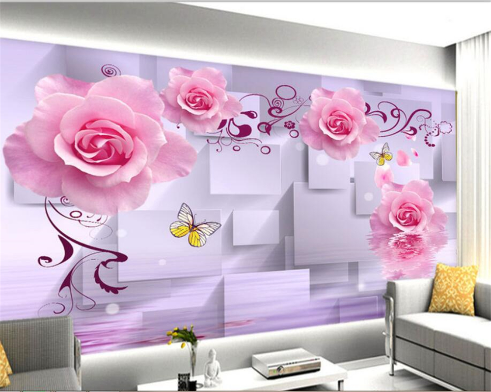 Us 885 41 Offcustom 3d Wallpaper Mural Pink Rose Romantic Flower Water Reflection 3d Background Wall Wallpaper For Walls 3 D Beibehang In
