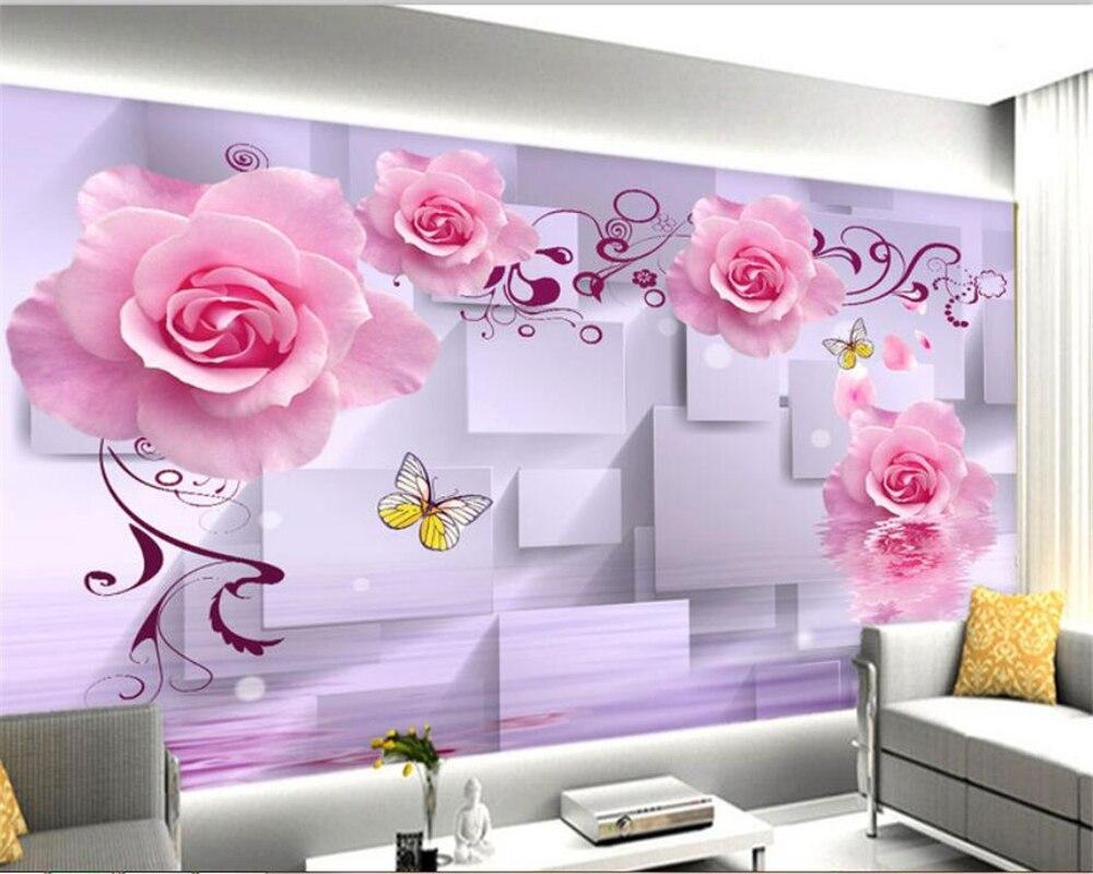 Custom 3D wallpaper mural Pink Rose Romantic Flower Water Reflection 3D Background Wall wallpaper for walls 3 d Beibehang