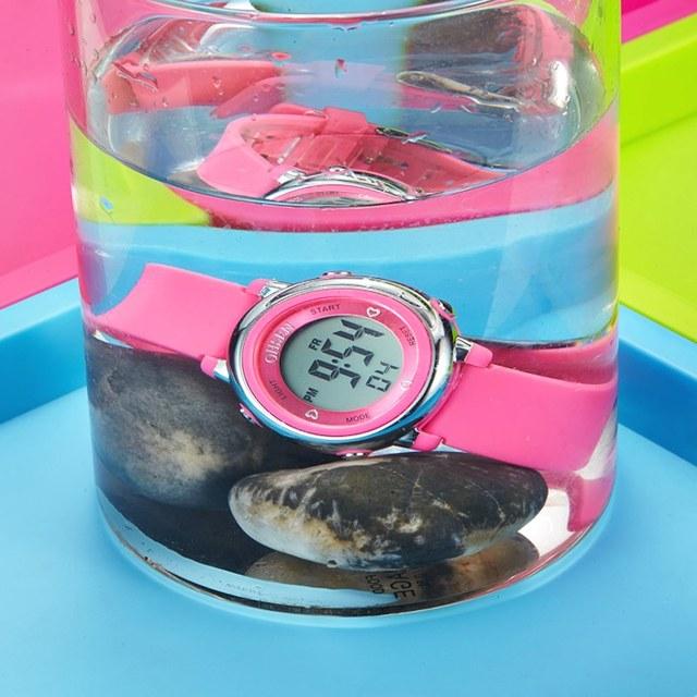 OHSEN Digital LCD Kids Girl Pink Wristwatch Rubber Strap 50M Diver 7 Colors Cartoon Children Boys Fashion Watch Alarm Hand Clock