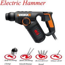 все цены на Multi-function Electric Hammer Drill Wall Concrete Impact Drill 3-in-1 AC Electric Rotary Hammer With Free Drill Bits WX346 онлайн