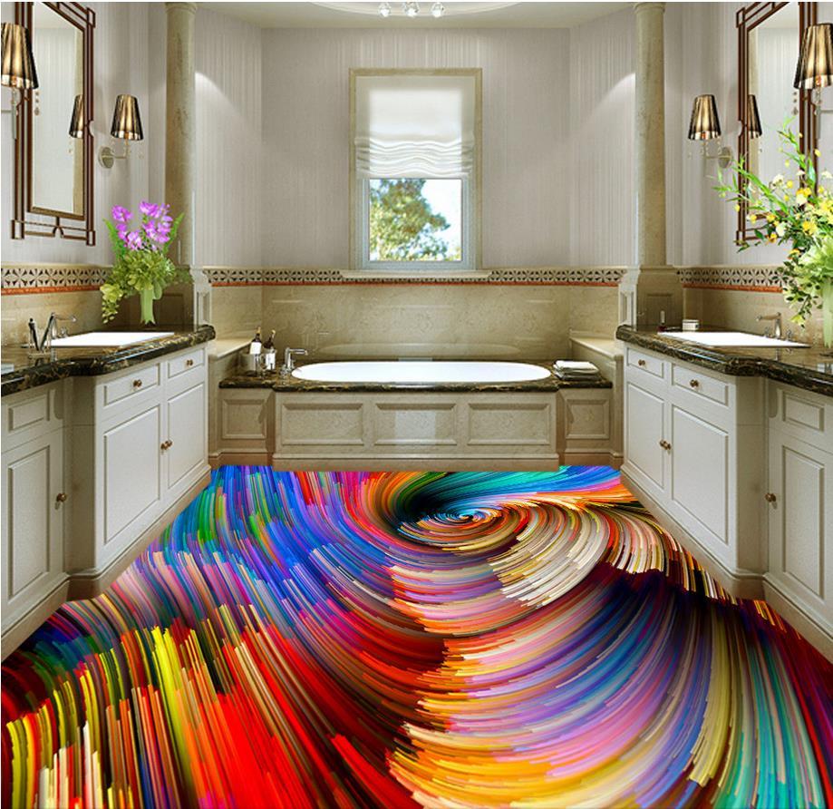 3d vloer schilderen behang vloer behang 3d voor badkamers Kleurrijke ...