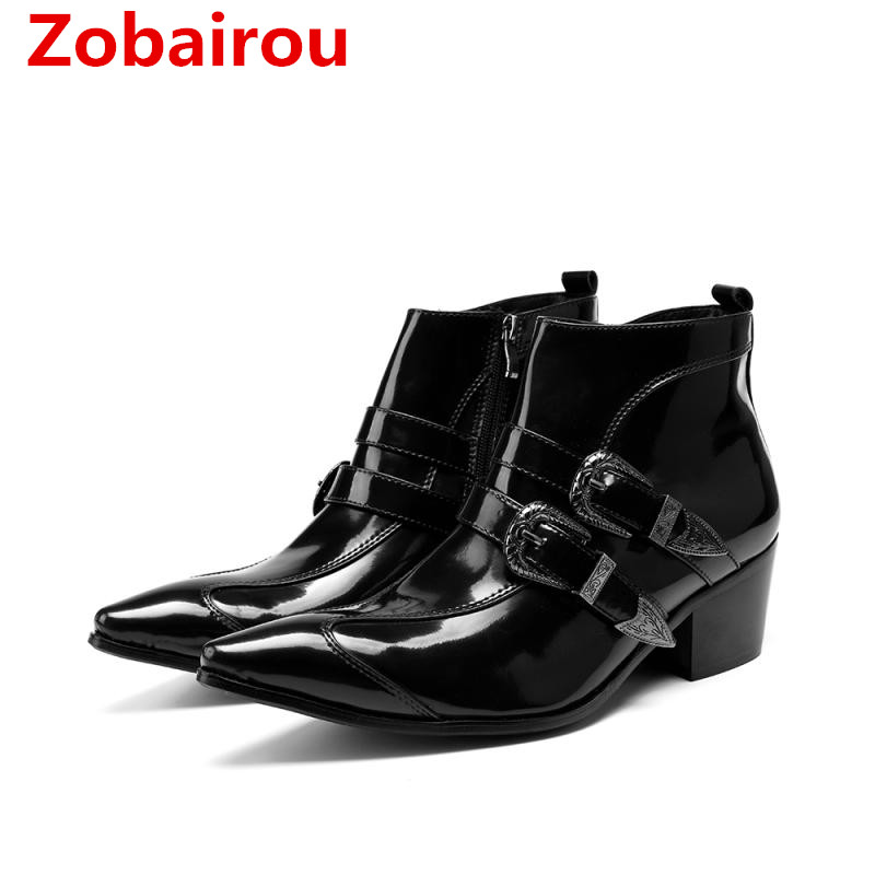 British style mens winter footwear cowboy boots patent leather black shoes pointy toe ankle boot medium height combat boots