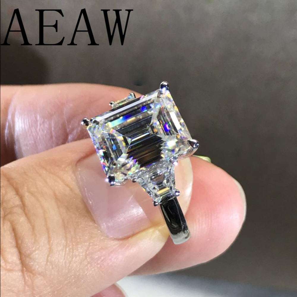 14k White Gold 5ct 9x11mm GH Color Emerald Side Trapezeoid Moissanite Baguette Lab Diamond Ring For