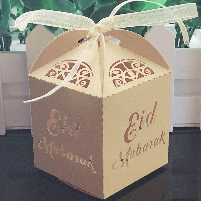 50 X Papier Geschenkbox Candy Ramadan Islamische Partei Eid Mubarak DIY Liefert